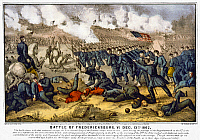 0109365 © Granger - Historical Picture ArchiveBATTLE OF FREDERICKSBURG.   Union Army charge at the Civil War Battle of Fredericksburg, Virginia, 13 December 1862. Lithograph by Currier and Ives, 1862.