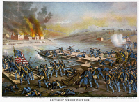 0109367 © Granger - Historical Picture ArchiveBATTLE OF FREDERICKSBURG.   The Army of the Potomac crossing the Rappahannock River during the Civil War Battle of Fredericksburg, Virginia, 13 December 1862. Lithograph by Kurz & Allison, c1888.