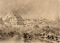 0109372 © Granger - Historical Picture ArchiveBATTLE OF FREDERICKSBURG.   Union Army troops building pontoon bridges on the Rappahannock River during the Civil War Battle of Fredericksburg, Virginia, 13 December 1862. Drawing by Alonze Chappel, 1862.