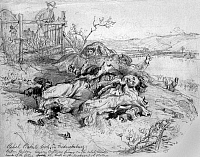0109374 © Granger - Historical Picture ArchiveBATTLE OF FREDERICKSBURG.   Four Confederate soldiers lie dead, as a Union soldier looks on, after Civil War Battle of Fredericksburg, Virginia, 13 December 1862. Drawing by Alfred R. Waud, 1862.