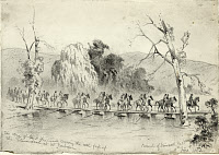 0168449 © Granger - Historical Picture ArchiveCIVIL WAR: PONTOON BRIDGE.   Union Army troops under General John Charles Fremont on a pontoon bridge crossing the north fork of the Shenandoah at Mount Jackson, Virginia. Pencil drawing by Edwin Forbes, 5 June 1862.