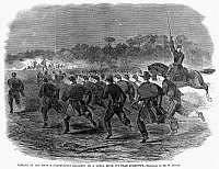 0267261 © Granger - Historical Picture ArchiveSIEGE OF YORKTOWN, 1862.   'Charge of the First Massachusetts regiment on a rebel rifle pit near Yorktown.' Engraving from a sketch by Winslow Homer, 1862.