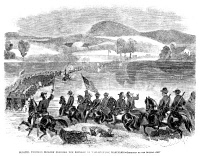 0355193 © Granger - Historical Picture ArchiveCIVIL WAR: POTOMAC, 1861.   Colonel George Henry Thomas's brigade crossing the Potomac River at Williamsport, Maryland, during the Civil War, 1861. Contemporary American wood engraving.