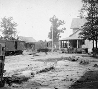 0409040 © Granger - Historical Picture ArchiveCIVIL WAR: CATLETT.   Boxcars and troops at Catlett's Station, Virginia. Photography by Timothy H. O'Sullivan, 1862.
