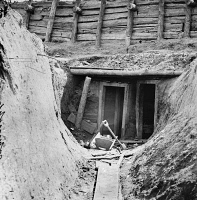 0409111 © Granger - Historical Picture ArchiveCIVIL WAR: MINE, 1863.   Entrance to mine in Fort Mahone, intended to undermine For Sedgwick, Petersburg, Virginia. Photograph, 1865.