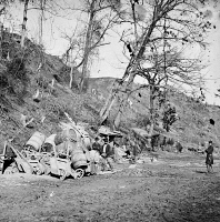 0634101 © Granger - Historical Picture ArchiveCIVIL WAR: BOMB SHELTER.   Bomb-proof quarters at Dutch Gap, Virginia. Photograph, 1864.