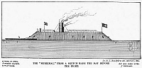 0034080 © Granger - Historical Picture ArchiveCONFEDERATE IRONCLAD, 1862.   Side elevation of the Confederate ironclad CSS 'Virginia,' formerly the forty-gun screw frigate USS 'Merrimack.' Line engraving after a drawing of 1862.