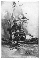 0619964 © Granger - Historical Picture ArchiveCIVIL WAR: MERRIMAC, 1862.   The sinking of the USS Congress by the CSS Merrimac at the Battle of Hampton Roads during the American Civil War, 8 March 1862. Engraving, 1892.