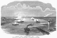0090548 © Granger - Historical Picture ArchiveCIVIL WAR: SABINE PASS.   Union gunboats unsuccessfully assaulting the Confederate position at Fort Griffin, near the mouth of the Sabine River, Texas, 8 September 1863. Contemporary wood engraving from an American newspaper.
