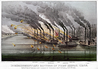 0103140 © Granger - Historical Picture ArchiveCIVIL WAR: FORT HENRY, 1862.   The bombardment and capture of the Confederate Fort Henry, on the Tennessee River, by Union gunboats led by Commodore Andrew H. Foote, 6 February 1862. Contemporary lithograph published by Currier and Ives,