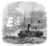 0265047 © Granger - Historical Picture ArchiveCIVIL WAR: NAVAL BATTLE, 1861.   The destruction of the Union merchantman ship, 'Harvey Birch' by the Confederate steamer, CSS 'Nashville,' in the English Channel, 19 November 1861. Engraving, English, 1861.
