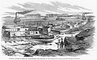 0265208 © Granger - Historical Picture ArchiveCIVIL WAR: MORTAR BOATS.   'General Halleck's fleet of mortar-boats for service on the Mississippi.' Engraving, 1861.