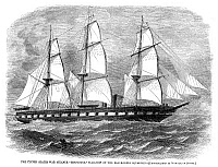 0268210 © Granger - Historical Picture ArchiveCIVIL WAR: USS MINNESOTA.   The steam frigate USS Minnesota, flagship of the Union blockading squadron during the American Civil War. Wood engraving, American, 1861, after a photograph.