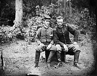 0048581 © Granger - Historical Picture ArchiveCIVIL WAR: PRISONERS, 1862.   Lieutenant James B. Washington, a Confederate prisoner, with Captain George Armstrong Custer, of the 5th Cavalry, at Fair Oaks, Virginia, 31 May 1862.