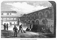 0088626 © Granger - Historical Picture ArchiveCIVIL WAR: NEW YORK FORT.   Interior of Fort Lafayette in New York Harbor, used during the American Civil War to hold Confederate prisoners of war as well as political prisoners. Wood engraving from an English newpaper of March 1865.