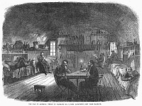 0090568 © Granger - Historical Picture ArchiveCIVIL WAR: NEW YORK PRISON.   Prisoners in Casemate No. 2 in Fort Lafayette, New York Habor, used during the American Civil War to house Confederate and political prisoners. Wood engraving, English, 1865.