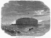 0090573 © Granger - Historical Picture ArchiveCIVIL WAR: FORT LAFAYETTE.   Fort Lafayette, New York Harbor, used during the Civil War to house Confederate and political prisoners. Wood engraving, 1862.