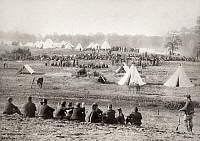 0163186 © Granger - Historical Picture ArchiveCIVIL WAR: PRISONERS, 1864.   Confederate prisoners captured at the Battle of Fisher's Hill in Virginia, under Union Army guards. Photograph, September 1864.