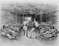 0622473 © Granger - Historical Picture ArchiveCIVIL WAR: FLORENCE STOCKADE.   'Garvey and Col. Iverson.' Emaciated Union soldiers confined within the Confederate prisoner-of-war camp known as the Florence Stockade, 1864. Engraving by James E. Taylor, 1897.