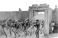 0622474 © Granger - Historical Picture ArchiveCIVIL WAR: FLORENCE STOCKADE.   Union prisoners carry pieces of wood into the Florence Stockade prisoner-of-war camp while another plays a fiddle, 1864. Engraving by James E. Taylor, 1897.
