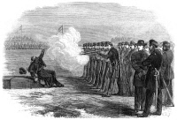 0029236 © Granger - Historical Picture ArchiveCIVIL WAR: DESERTER, 1862.   The execution of a Union deserter by firing squad in the Federal camp at Alexandria, Virginia: wood engraving from an American newspaper of 1862.