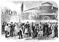 0172000 © Granger - Historical Picture ArchiveCIVIL WAR: RECRUITMENT.   Union Army recruiters enlisting Irish and German immigrants on their arrival at Castle Garden in New York City, 1864. Contemporary English wood engraving, after a drawing by C.D. Shanly.