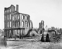 0051388 © Granger - Historical Picture ArchiveCIVIL WAR: FALL OF RICHMOND.   View of the Burnt District, Richmond, Virginia, April 1865.