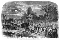 0186222 © Granger - Historical Picture ArchiveCIVIL WAR: CONTRABANDS.   A large number of escaped slaves at Hampton, Virginia, on their way to seek refuge at Fort Monroe, August 1861. Contemporary American wood engraving.