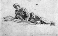0012174 © Granger - Historical Picture ArchiveCIVIL WAR: SOLDIER.   'News From Home.' Pencil drawing, 1863, by Edwin Forbes (1839-1895).