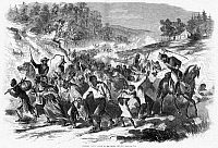 0057159 © Granger - Historical Picture ArchiveCIVIL WAR: CONTRABANDS.   Black people, many handcuffed or chained, being driven south in Virginia by Confederate soldiers, 1862. Contemporary American wood engraving.