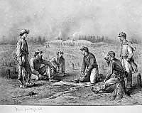 0066989 © Granger - Historical Picture ArchiveCIVIL WAR: SOLDIERS.   'Pickets Trading Between the Lines.' Pencil drawing by Edwin Forbes (1839-1895).