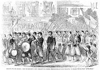 0067113 © Granger - Historical Picture ArchiveZOUAVES MARCHING, 1861.   The 5th Regiment of New York Zouaves marching up Broadway, New York City, prior to embarking for the South, 23 May 1861. Wood engraving from a contemporary English newspaper.
