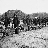 0121640 © Granger - Historical Picture ArchiveCIVIL WAR: GEORGIA, 1864.   General William Tecumseh Sherman's troops removing ammunition in wheelbarrows from Fort McAllister, near Savannah, Georgia, December 1864.