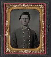 0264452 © Granger - Historical Picture ArchiveCIVIL WAR: SOLDIER, c1862.   Portrait of Captain Jesse Sharpe Barnes, F Company, 4th North Carolina Infantry. Ambrotype, c1862.