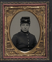0264454 © Granger - Historical Picture ArchiveCIVIL WAR: SOLDIER, c1863.   Portrait of a Union soldier. Ambrotype, c1863.