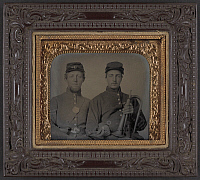 0264481 © Granger - Historical Picture ArchiveCIVIL WAR: SOLDIERS, c1863.   Portrait of a Union soldiers, one holding a bugle. Ambrotype, c1863.