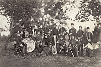 0264605 © Granger - Historical Picture ArchiveCIVIL WAR: MUSICIANS, 1861.   Portrait of the Elmira Cornet Band, Thirty-third Regiment, of the New York State Volunteers. Photograph, July 1861.