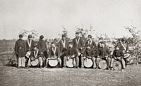 0264619 © Granger - Historical Picture ArchiveCIVIL WAR: MUSICIANS, 1863.   Portrait of the Drum Corps of 61st New York Infantry in Falmouth, Virginia. Photograph, March 1863.