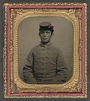 0264993 © Granger - Historical Picture ArchiveCIVIL WAR: SOLDIER, c1863.   Portrait of a soldier wearing a Confederate uniform. Tintype, c1863.