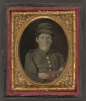 0264996 © Granger - Historical Picture ArchiveCIVIL WAR: SOLDIER, c1863.   Portrait of Confederate soldier. Tintype, c1863.