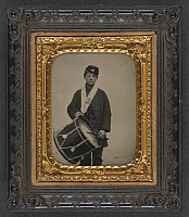 0265005 © Granger - Historical Picture ArchiveCIVIL WAR: DRUMMER, c1863.   Portrait of Union Army drummer Samuel W. Doble of the 12th Maine Infantry Regiment. Ambrotype by Sewall Shattuck, c1863.