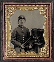 0265006 © Granger - Historical Picture ArchiveCIVIL WAR: DRUMMER, c1863.   Portrait of Union Army drummer. Tintype, c1863.