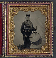 0265008 © Granger - Historical Picture ArchiveCIVIL WAR: DRUMMER, c1863.   Private William V. Haines of the 49th Ohio Infantry Regiment, with a drum. Tintype, c1863.