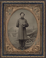 0265358 © Granger - Historical Picture ArchiveCIVIL WAR: SOLDIER, c1863.   Portrait of a Union soldier wearing a frock coat. Tintype, c1863.