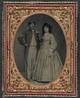 0266710 © Granger - Historical Picture ArchiveCIVIL WAR: COUPLE, c1863.   Portrait of a Union Army sergeant and a woman. Tintype, c1863.