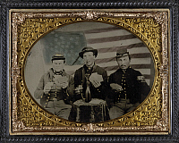 0268834 © Granger - Historical Picture ArchiveCIVIL WAR: SOLDIERS, c1863.   Union soldiers playing cards, smoking and drinking. Ambrotype, c1863.