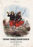 0007550 © Granger - Historical Picture ArchiveZOUAVE SONGSHEET, 1860s.   Zouave Grand Parade March: American Civil War lithograph sheet music cover, published at Philadelphia, featuring Colonel Efraim Ellsworth's Zouave volunteer militiamen.
