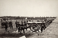 0163208 © Granger - Historical Picture ArchiveCIVIL WAR: UNION FORT.   The 1st Connecticut Heavy Artillery at Fort Richardson in Virginia. Photograph, 1861.