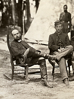 0165808 © Granger - Historical Picture ArchiveCHARLES FRANCIS ADAMS, JR.   (1835-1915). American army officer, railroad executive, and historian. Adams (left) photographed with a fellow officer of the 1st Massachusetts Cavalry at Petersburg, Virginia, during the American Civil War, August 1864.