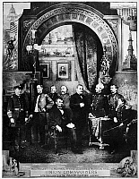 0259382 © Granger - Historical Picture ArchiveUNION COMMANDERS, c1863.   Portrait of the commanders of the Union Army. Left to right: David Farragut, William Tecumseh Sherman, George Henry Thomas, Abraham Lincoln, George Meade, Ulysses S. Grant, Joseph Hooker, Philip Sheridan, Winfield Scott Hancock. Illustration, 1884.